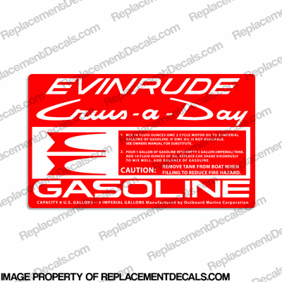 Evinrude 1961-1968 6 Gallon Fuel Tank Decal
