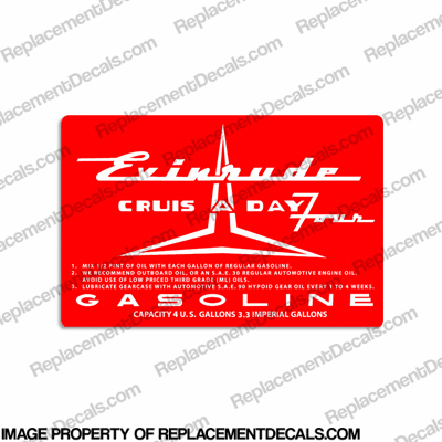 Evinrude 1957 4 Gallon Fuel Tank Decal