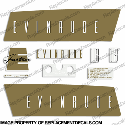 Evinrude 1959 18hp Decal Kit