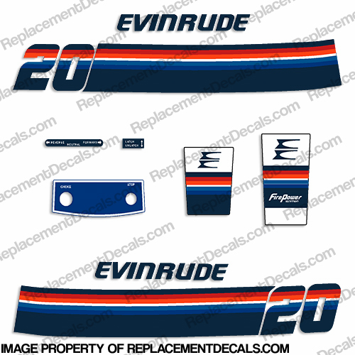 Evinrude 1978 20hp Decal Kit