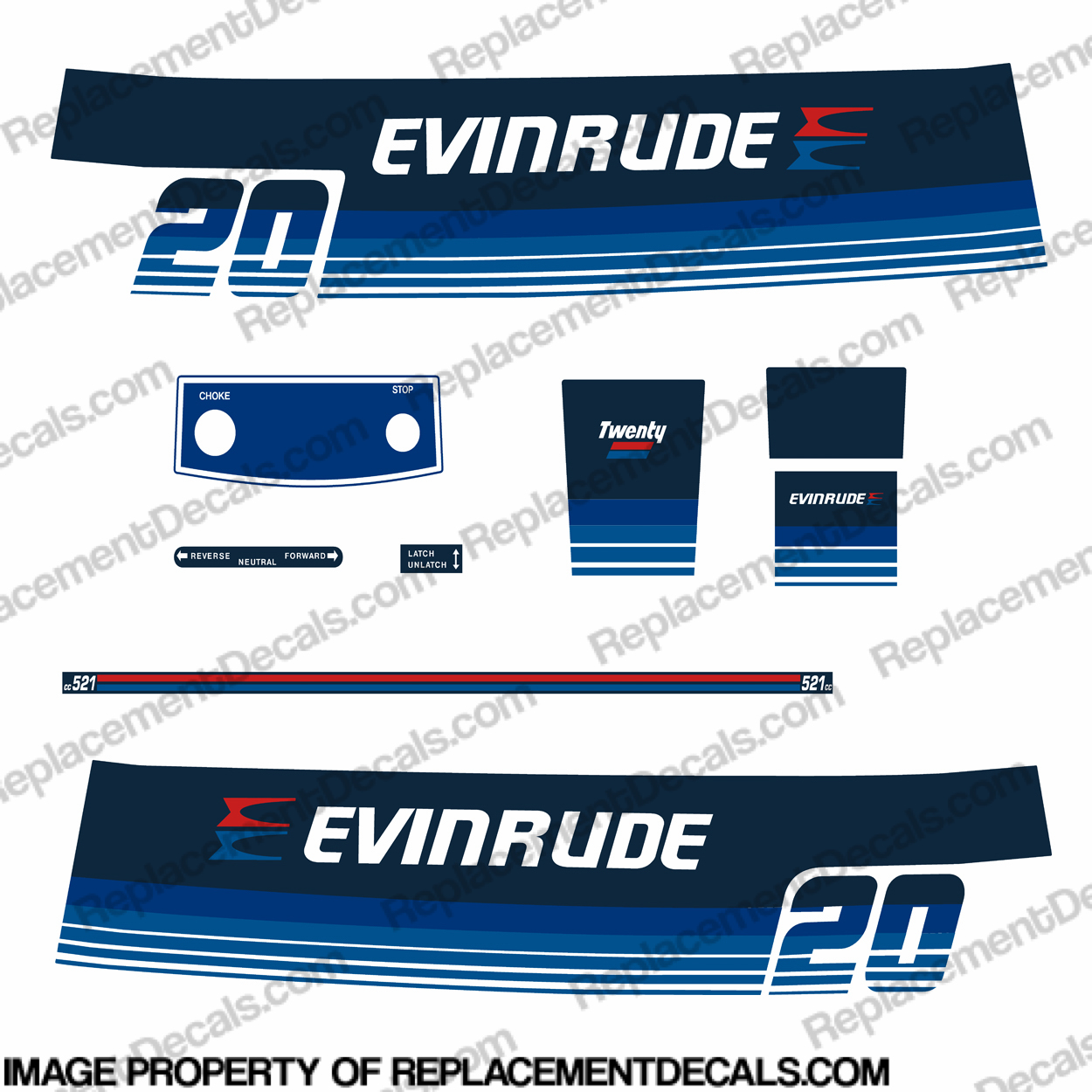 Evinrude 1979 20hp Decal Kit