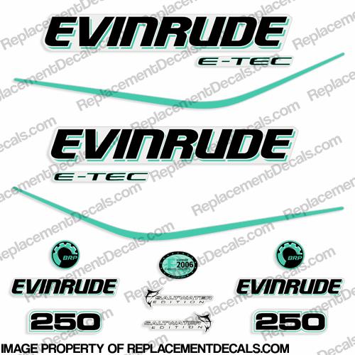 Evinrude 250hp E-Tec Decal Kit - Aqua