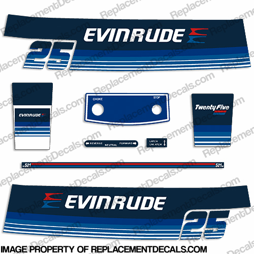Evinrude 1979 25hp Decal Kit