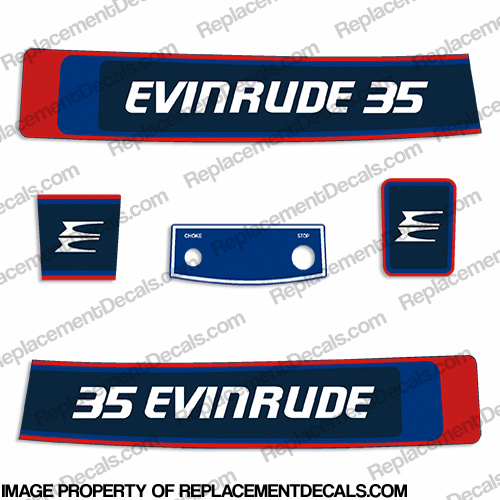 Evinrude 1976 35hp Decal Kit