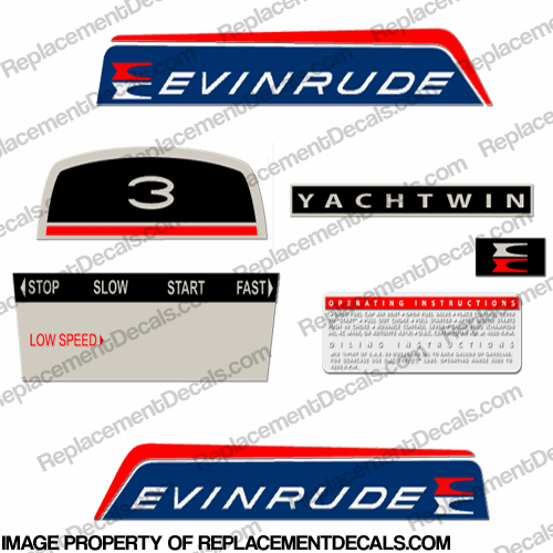 Evinrude 1966 3hp Yachtwin Decal Kit