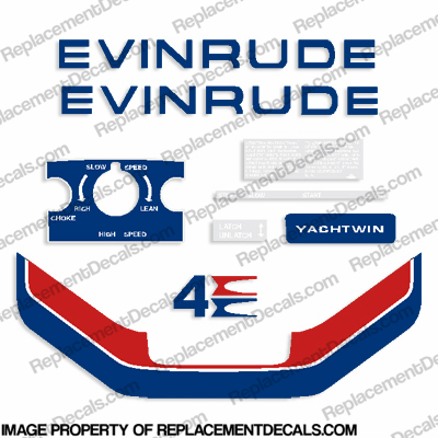 Evinrude 1974 4hp Yachtwin Decal Kit