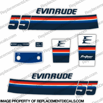 Evinrude 1978 55hp Decal Kit