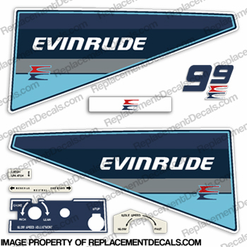 Evinrude 1985 9.9hp Decal Kit evinrude 9.9, 9.9