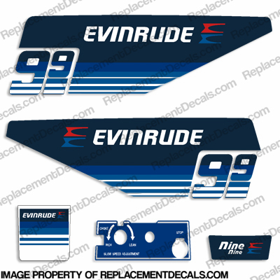 Evinrude 1979 9.9hp Decal Kit evinrude 9.9, 79