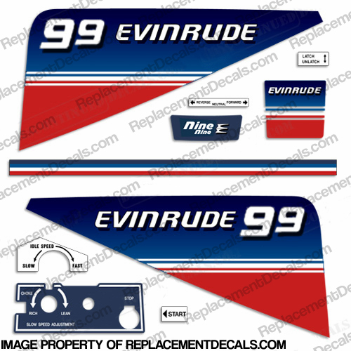 Evinrude 1980 9.9hp Decal Kit evinrude 9.9, 80