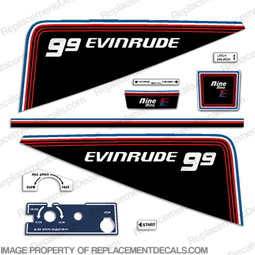 Evinrude 1981 9.9hp Decal Kit evinrude 9.9, 81