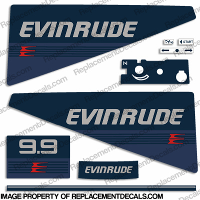 Evinrude 1986 9.9hp Decal Kit evinrude 9.9, 86