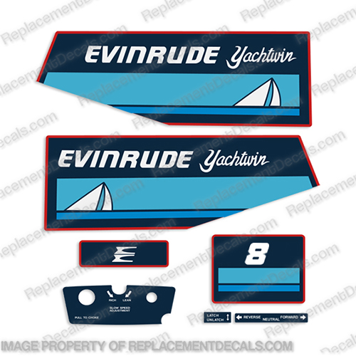 Evinrude 1983 8hp Decal Kit  evinrude, 7.5, 75, 7, 8, evinrude_decals_7.5_hp_outboard_motor_1983, 83, 1983, 2cyl, 2, cyl, E, 0186, 233, E0186223