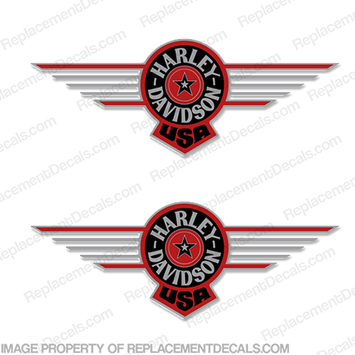 Harley-Davidson Fuel Tank Motorcycle Decals (Set of 2) - Fatboy Red harley, harley davidson, harleydavidson, fatboy, fat boy, fat, boy