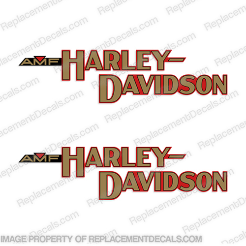 Harley-Davidson Fuel Tank Motorcycle Decals (Set of 2) - AMF FX 1980 Harley-Davidson, fx, amf, Decals,  red, (Set of 2), 14471, Harley, Davidson, Harley Davidson, soft, tail, 1980, 1979, 1981, softtail, soft-tail, softail, harley-davidson, Fuel, Tank, Decal