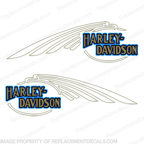 Harley-Davidson FXSTC Softail Decals Gold / Blue (Set of 2) - Fuel Tank Harley-Davidson, fxstc, Decals, silver, (Set of 2), 14471, Harley, Davidson, Harley Davidson, soft, tail, 1995, 1996, 96, softtail, soft-tail, softail, harley-davidson, Fuel, Tank, Decal, 2009