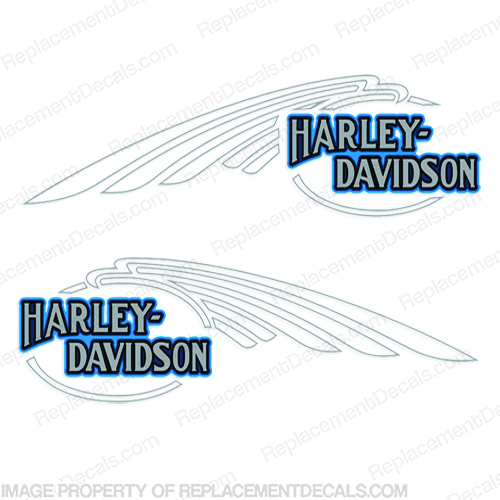 Harley-Davidson FXSTC Softail Decals Silver / Blue (Set of 2) - Fuel Tank Harley-Davidson, fxstc, Decals,  silver, (Set of 2), 14471, Harley, Davidson, Harley Davidson, soft, tail, 1995, 1996, 96, softtail, soft-tail, softail, harley-davidson, Fuel, Tank, Decal, 2009