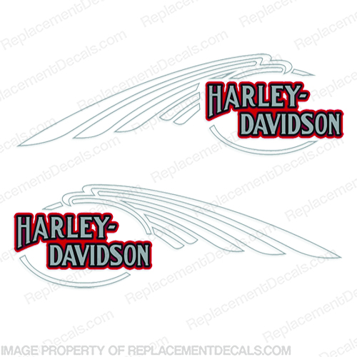 Harley-Davidson FXSTC Softail Decals Silver / Red (Set of 2) - Fuel Tank Harley-Davidson, fxstc, Decals,  silver, (Set of 2), 14471, Harley, Davidson, Harley Davidson, soft, tail, 1995, 1996, 96, softtail, soft-tail, softail, harley-davidson, Fuel, Tank, Decal, 2009