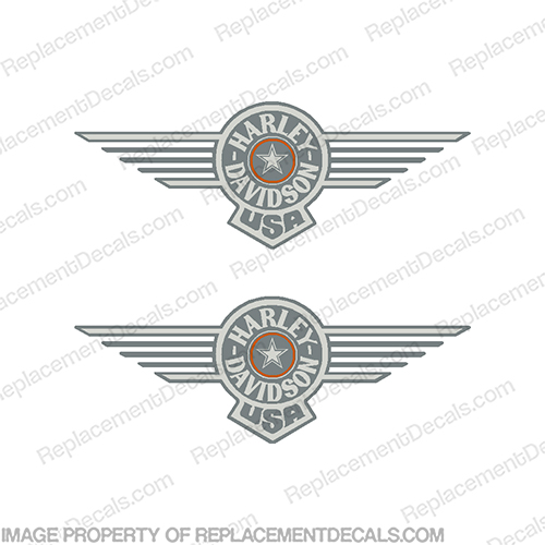Harley-Davidson Fuel Tank Motorcycle Decals (Set of 2) - Fatboy Grey harley, harley davidson, harleydavidson, fatboy, fat boy, fat, boy, grey