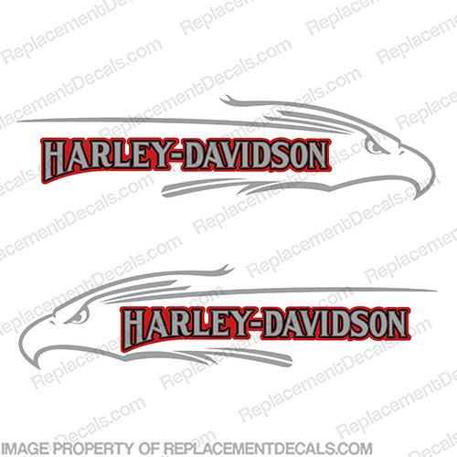 Harley Davidson FXD Eagle Silver Red Gas Tank Decals (Set of 2)  harley, harley davidson, harleydavidson, harley_davidson_fat_boy_fxef_1985 silver, fuel, fsxe, fat, boy, fxd, blue, red, silver, gold, eagle, head, logo, emblem, tank, fuel, decal, sticker