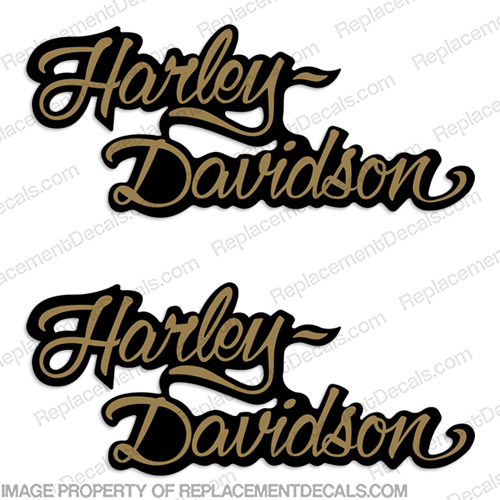 Harley-Davidson FXSTC Decals Gold / Black (Set of 2) - Fuel Tank Decal  1986 Harley-Davidson, fxstc, Decals,  black, (Set of 2), 14471, Harley, Davidson, Harley Davidson, soft, tail, 1995, 1996, 96, softtail, soft-tail, softail, harley-davidson, Fuel, Tank, Decal