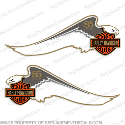 Harley-Davidson Fuel Tank Motorcycle Decals (Set of 2) - 85 Year harley, harley davidson, harleydavidson, scroll, eighty five