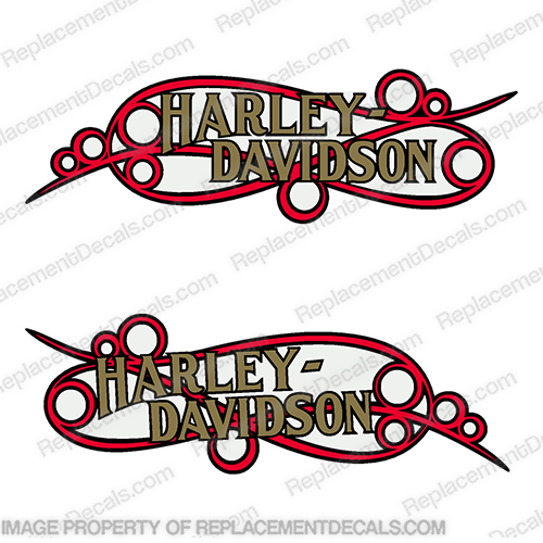 Harley-Davidson Fuel Tank Motorcycle Decals (Set of 2) - Style 17  Scroll Gold with Red scroll and Black Outline harley, harley davidson, harleydavidson, scroll, davidson, 14126-86, 14127-86