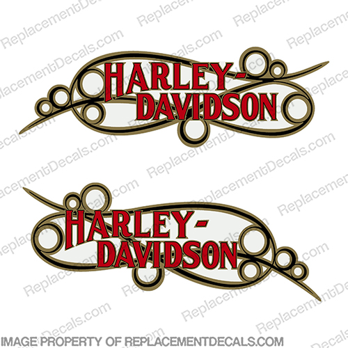 Harley-Davidson Fuel Tank Motorcycle Decals (Set of 2) - Style 17  Scroll Black / Gold / Red harley, harley davidson, harleydavidson, scroll, davidson, 14126-86, 14127-86