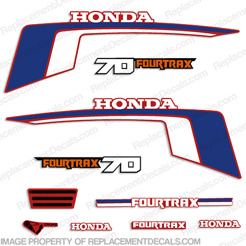 Honda 70cc Fourtrax ATC Decals - 1986-1987 70 cc, atc