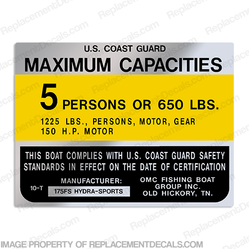 Hydra-Sports 175FS 5 Person Boat Capacity Plate Decal