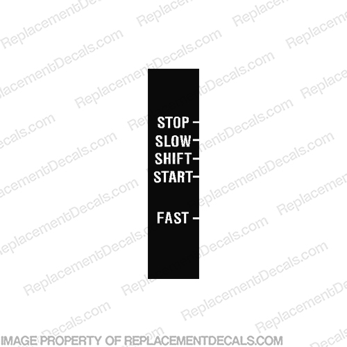 Twist Grip Tiller Throttle Control Decal SLOW STOP SHIFT START FAST johnson, evinrude, throttle, speed, handle, replacement, control, switch, stiker, decal, part, new, twist, grip, tiller, start, stop, slow, shift, fast