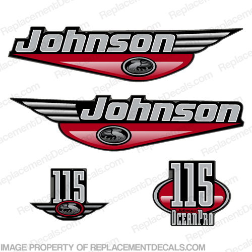 Johnson 115hp Decals Ocean Pro (Pick Color)