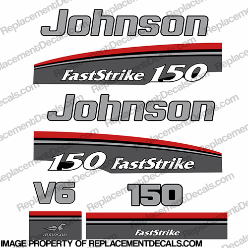 Decal Reproductions in Stock Johnson 1991-1996 150hp FastStrike V6 Decal Kit
