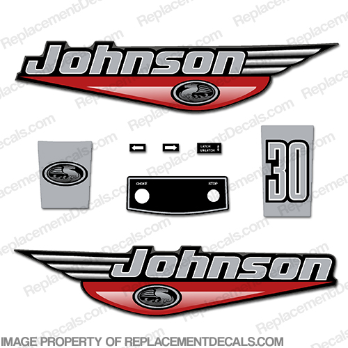 30 hp DECAL SET RED OUTBOARD  DECALS JOHNSON
