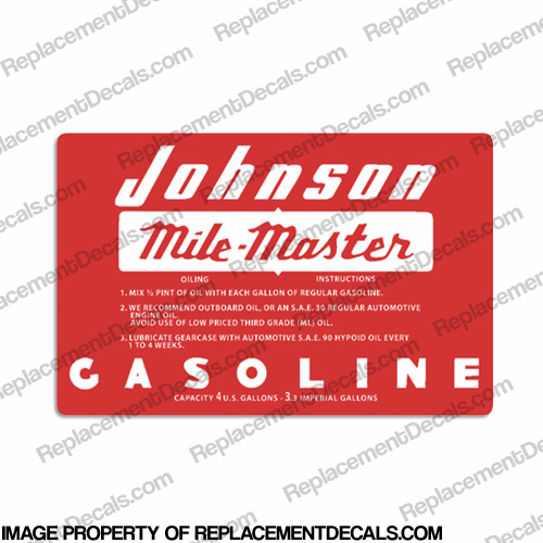 Johnson 1956 4 Gallon Gas Tank Decal