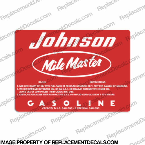 Johnson 1957 6 Gallon Gas Tank Decal