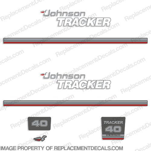 Johnson 1992-1993 Tracker 40hp Decal Kit - Red