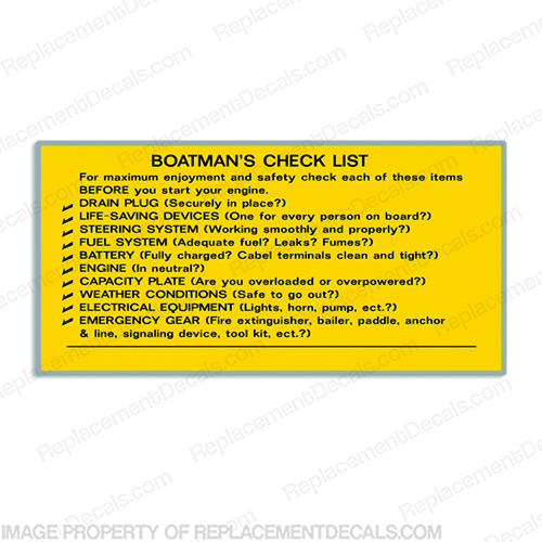 Boat Label Decals - Boatmans Checklist boat, man, boatman