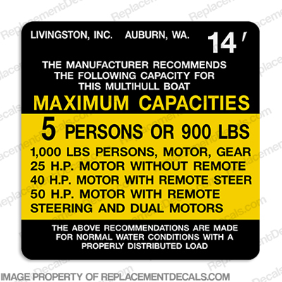 Livingston Capacity Decal - 5 Person
