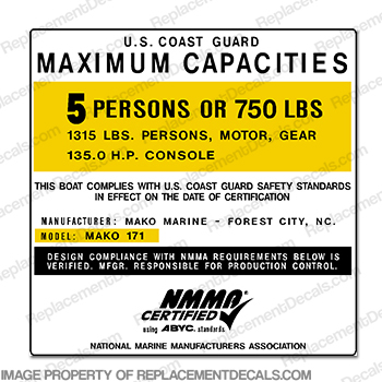 Mako 171 Capacity Plate Decal - 5 Person