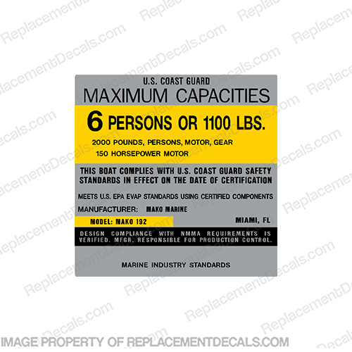 Mako Marine 192 Capacity Plate Decal - 6 Person mako, marine, 192, capacity, plate, sticker, decal, regulation, coast, guard,