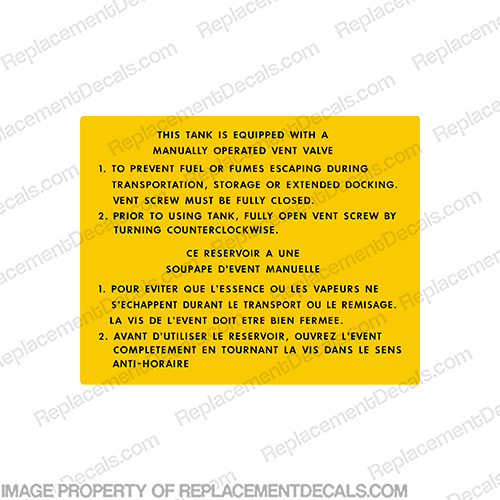 Manual Vent Valve - Fuel Tank Instruction -  Warning Decal  boat, logo, decal, capacity, plate, sticker, decal, regulation, coast, guard, warning, fuel, gas, diesel, safety