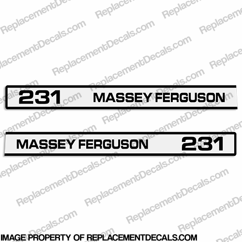 Massey Ferguson 231 Tractor Hood Decals (Set of 2)
