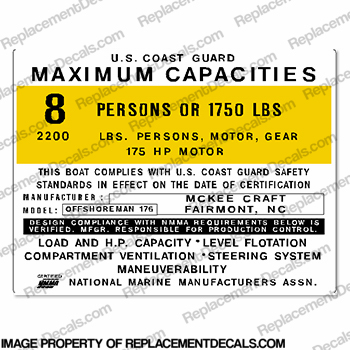 McKee Craft 176 Offshoreman 8 Person Boat Capacity Plate Decal