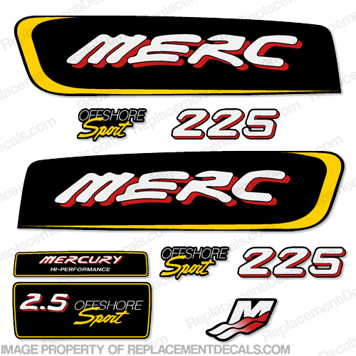 Mercury 2.5 Liter Offshore Sport Decal Kit - Red/Yellow