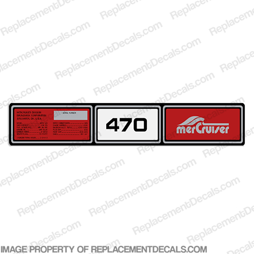 Mercruiser 1982-1989 470hp Valve Cover Decals 1982, 1983, 1984, 1985, 1986, 1987, 1988, 1989, 470 hp, rocker cover decal, #37-77263