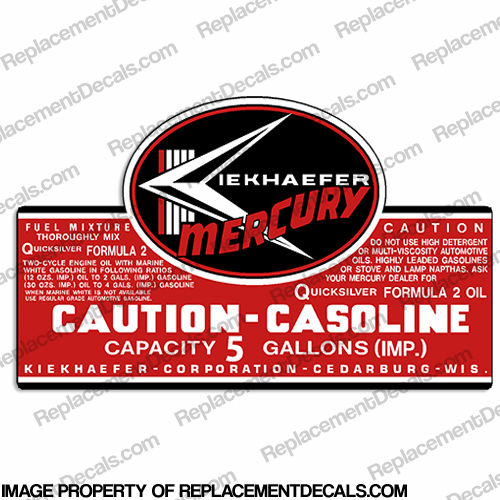 Mercury 1957-1963 5 Gallon Gas Tank Decal
