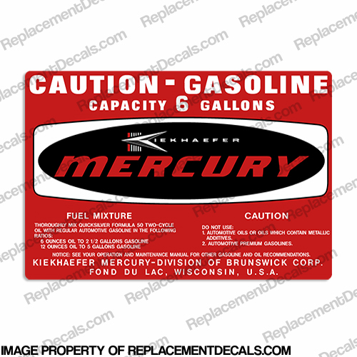 Mercury 1971-1972 6 Gallon Gas Tank Decal
