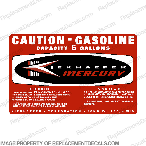 Mercury 1964 6 Gallon Gas Tank Decal