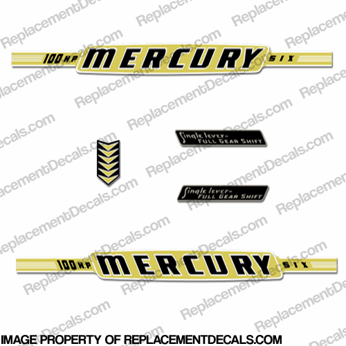 Mercury 1962 100HP Outboard Engine Decals
